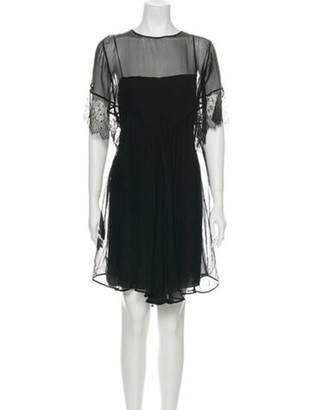 No.21 Bateau Neckline Mini Dress Black