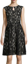 London Times London Style Collection Cap-Sleeve Lace Keyhole Belted Fit-and-Flare Dress