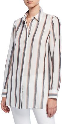 Lafayette 148 New York Peggy Sunrise Stripe Button-Down Shirt