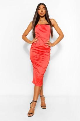 boohoo Tall Satin Lace Insert Midi Dress