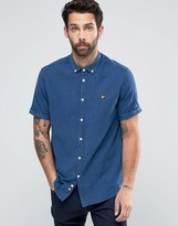 Lyle & Scott Oxford Shirt In Light Indigo Blue In Regular Fit With Short Sleeves
