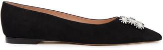 Stuart Weitzman Kelsey Crystal-embellished Suede Point-toe Flats