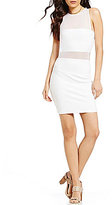 GUESS Sleeveless Illusion-Overlay Bandeau-Bodice Ponte Dress