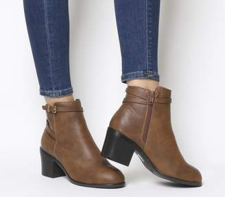 Office Attract Ankle Strap Boots Tan