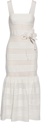 Zimmermann Corsage Linear Belted Slub Linen Midi Dress