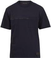 Prada Crew-neck wool-panel cotton T-shirt