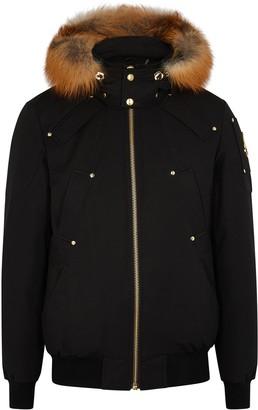 Moose Knuckles Little Rapids black fur-trimmed bomber jacket