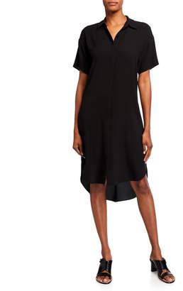 Eileen Fisher Petite Silk Crepe Short-Sleeve Collared Shirtdress