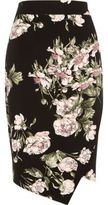 River Island Womens Black floral print wrap pencil skirt