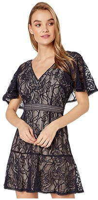 BB Dakota In My Lace Capelet Sleeve Lace Dress with Contrast Lining (Oilslick) Women's Dress