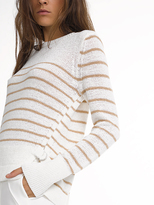 White + Warren Cotton D-ring Tab Stripe Crewneck