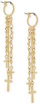 BCBGeneration Gold-Tone Cross Fringe Earrings