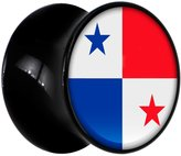 Body Candy Black Acrylic Flag of Panama Saddle Plug Pair 00 Gauge