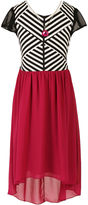 Speechless Short-Sleeve Stripe Chiffon Hi-Lo Hem Dress - Girls