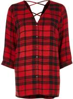 River Island Womens Red check cross back shirt
