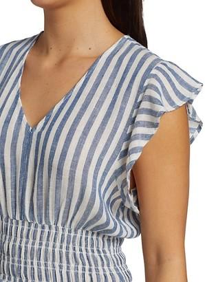 Rails Tara Ruffle Stripe Linen-Blend Mini A-Line Dress