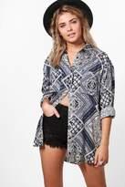 boohoo Emily Tile Print Oversized Shirt
