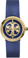 Tory Burch Women's Swiss Reva Navy Leather Strap Watch 28mm TRB4003