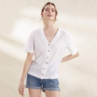 The White Company Cotton Button Front Blouse, White, 16