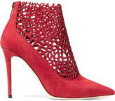 Jimmy Choo Maurice Laser-cut Suede Boots - Red