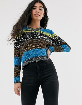 Noisy May textured color block knitted sweater