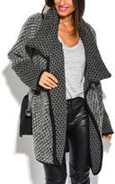 Gray Tweed Wool-Blend Funnel Collar Coat