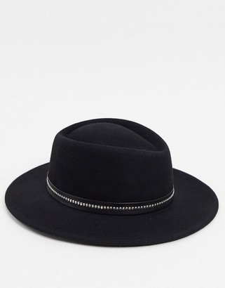 ASOS DESIGN pork pie hat in black with band and size adjuster