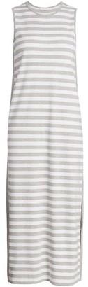 Joan Vass Sleeveless Striped Midi Dress