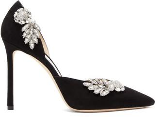 Jimmy Choo Teja 100 Crystal-embellished Suede D'orsay Pumps - Black