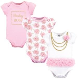 Little Treasure Baby Girls Cotton Bodysuits, Short-Sleeve 3-Pack