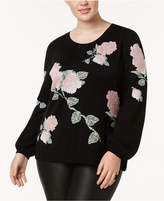 INC International Concepts Plus Size Metallic-Knit Floral-Print Sweater, Created for Macy's