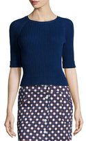 Carven Manche Ribbed Raglan Pullover Top, Marine