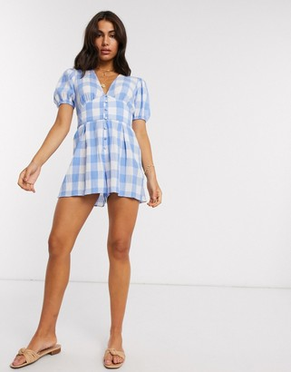 ASOS DESIGN crinkle tea playsuit with puff sleeve in gingham print