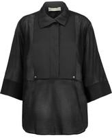By Malene Birger Dralua Silk-Blend Satin-Paneled Cotton-Broadcloth Top