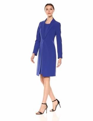 Le Suit LeSuit Women's Notch Collar Shinny Topper with Sheath Dress