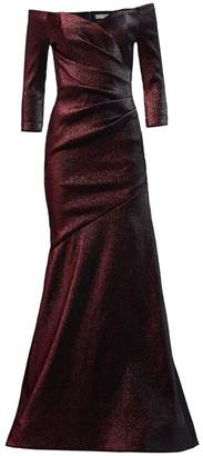 Theia Off-The-Shoulder Ruched Metallic Gown