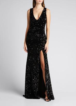 Badgley Mischka Sequined Velvet Sleeveless Front Slit Trumpet Gown