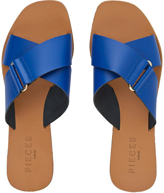 Pieces Leather Cross Over Sandals