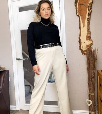 Daisy Street Plus relaxed pants in cream