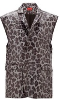 Art School - Leopard-print Sleeveless Leather Blazer - Womens - Grey
