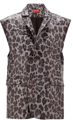 Art School - Leopard-print Sleeveless Leather Blazer - Grey