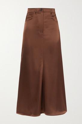 Nanushka Magnolia Satin Midi Skirt - Brown