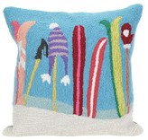 "Liora Manné Frontporch Gone Skiing Pillow Blue - (18""x18"") Square"