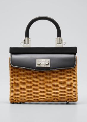 Rodo Paris Mini Wicker Top-Handle Bag