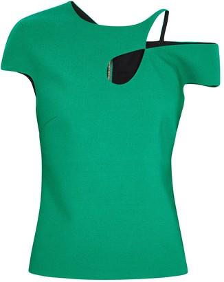 Roland Mouret Rialto Green Asymmetric Top
