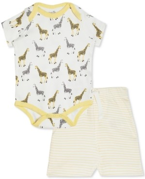 art & eden Baby Boys & Girls 2-Pc. Cotton Giraffe-Print Bodysuit & Striped Shorts