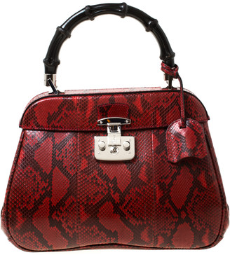 Gucci Red Python Leather Lady Lock Bamboo Top Handle Bag