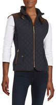 Gallery Faux Suede Trim Quilted Vest