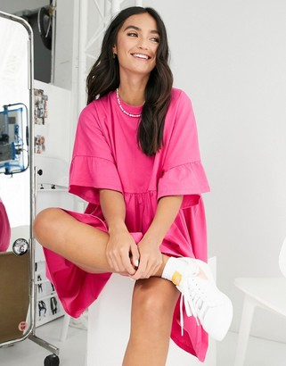 ASOS DESIGN oversized frill sleeve smock in hot pink