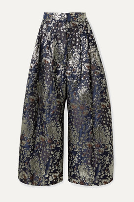 By Malene Birger Dinard Metallic Brocade Wide-leg Pants - Storm blue